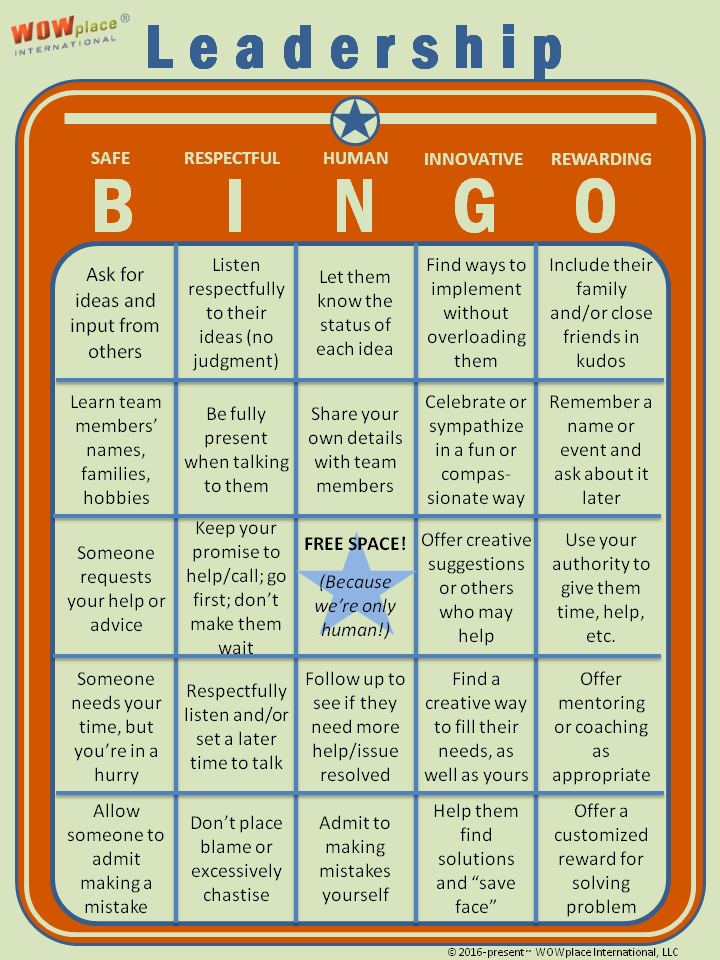 Leadership BINGO! Assess Your Leadership Skills!